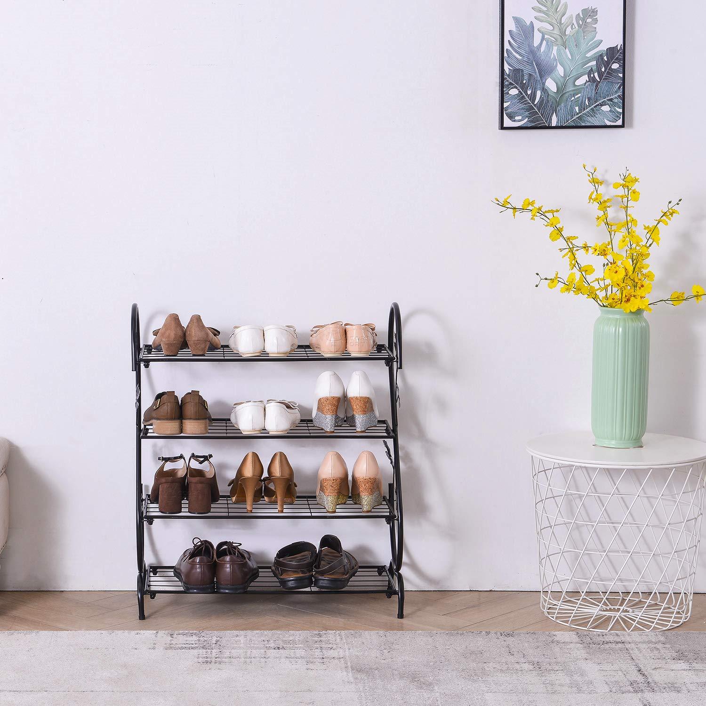 4 Tiers negro AcornFort H-02/X X METAL para zapatos zapatero