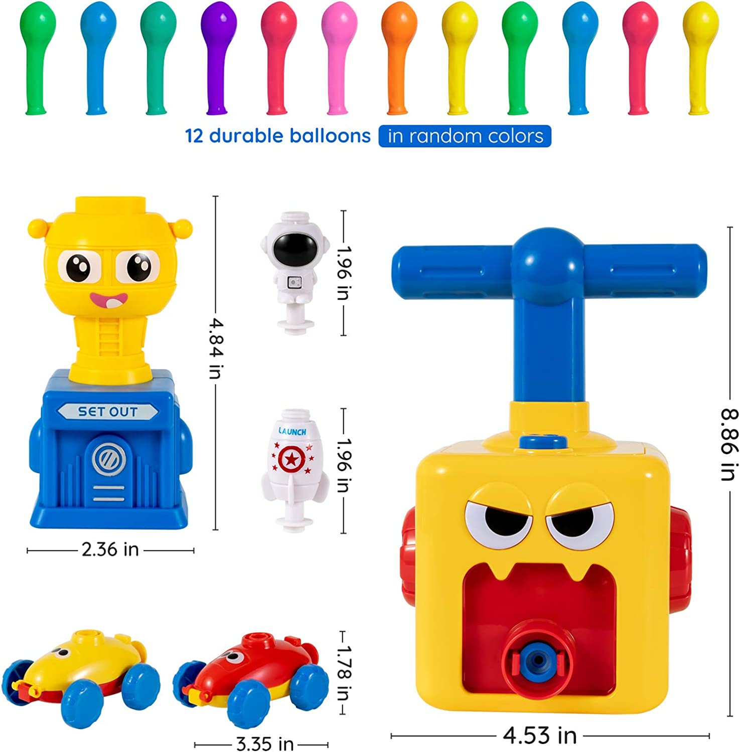 Balloon Launcher Car Toy Set Balloon Powered Car Balloon Power Rocket Spaceman Inertial Power Vhicle Launch Tower Educational Scientific Experiment Toy Flying Toy Vehicle Toy for Kids with 12 Balloons