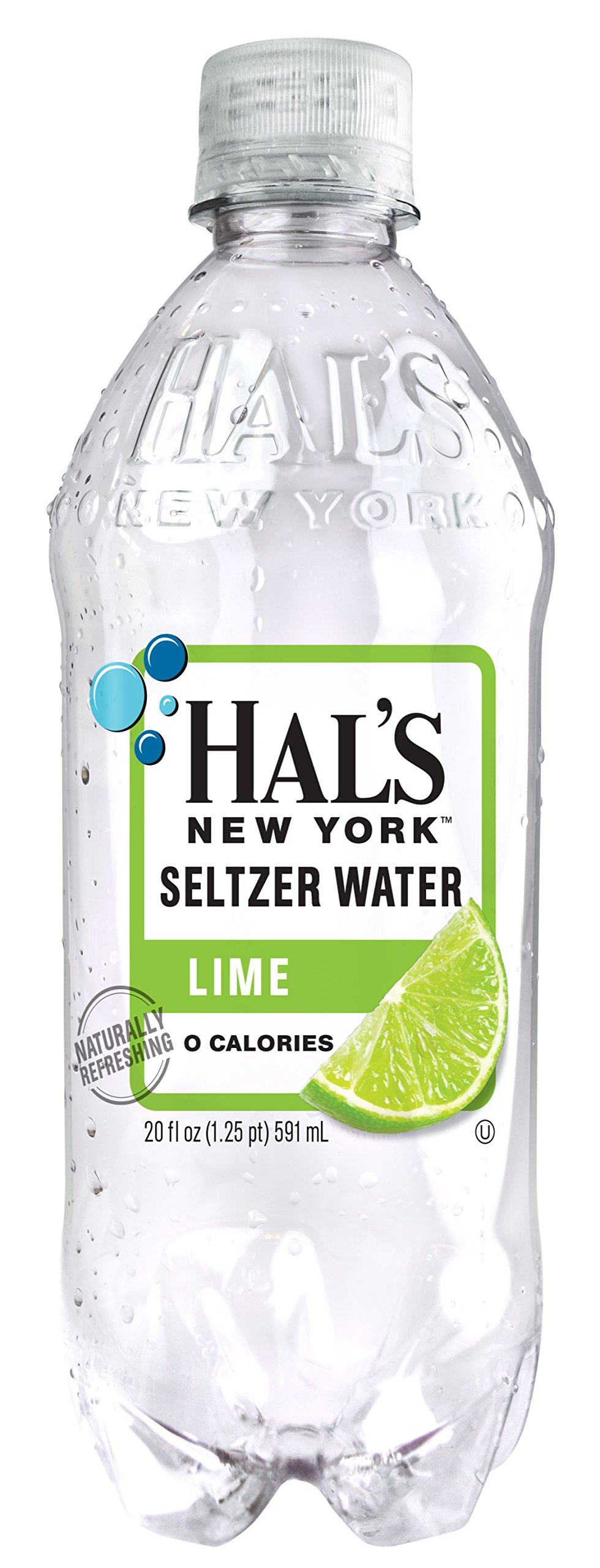 Hal's NY Seltzer Water 20 Oz Bottles (Pack of 24) (Lime)