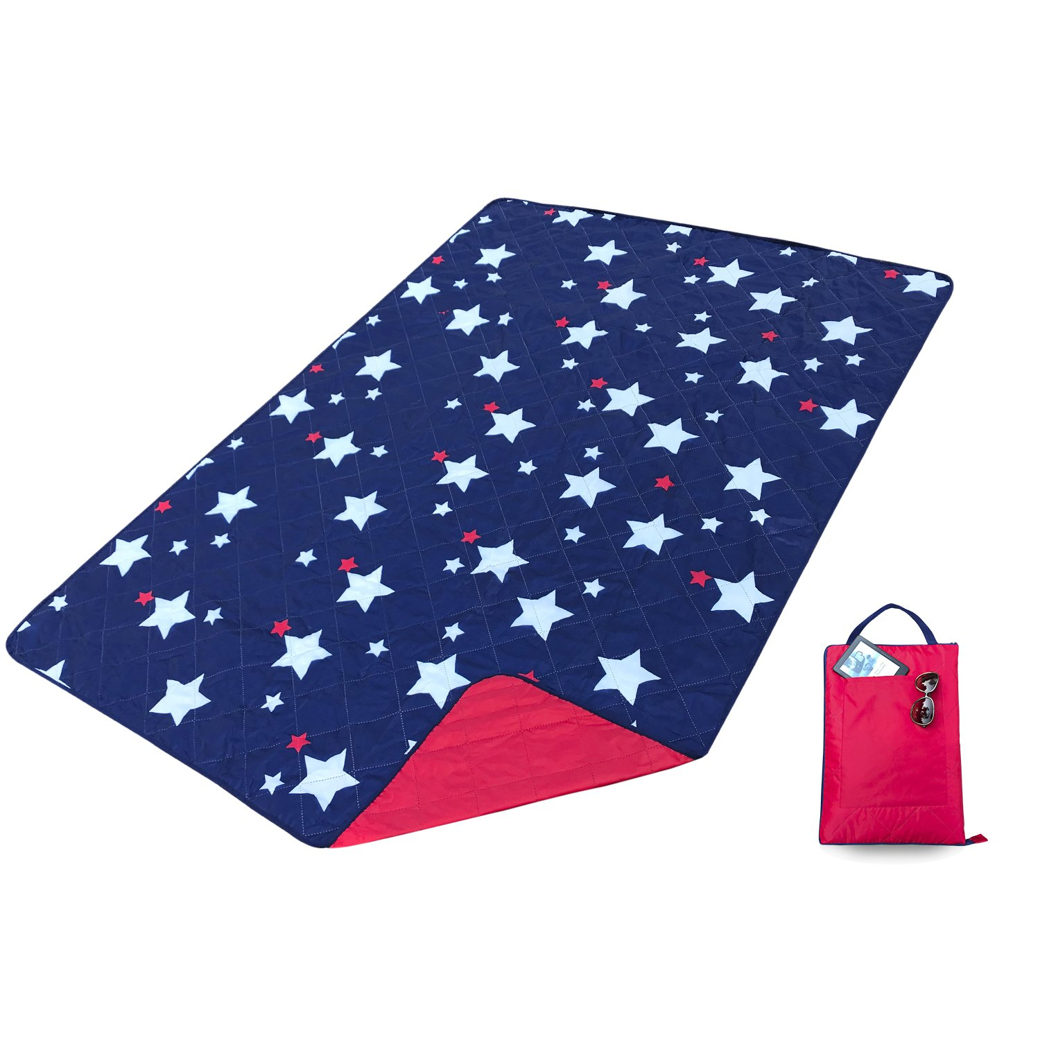 Kute 'n' Koo Outdoor Picnic Blanket Tote, Super Easy to Fold, Machine Washable, Waterproof Backing Fraying-Free Ultrasonic Sewing Lightweight Camping Blanket, 55'' x 79'' (Stars)