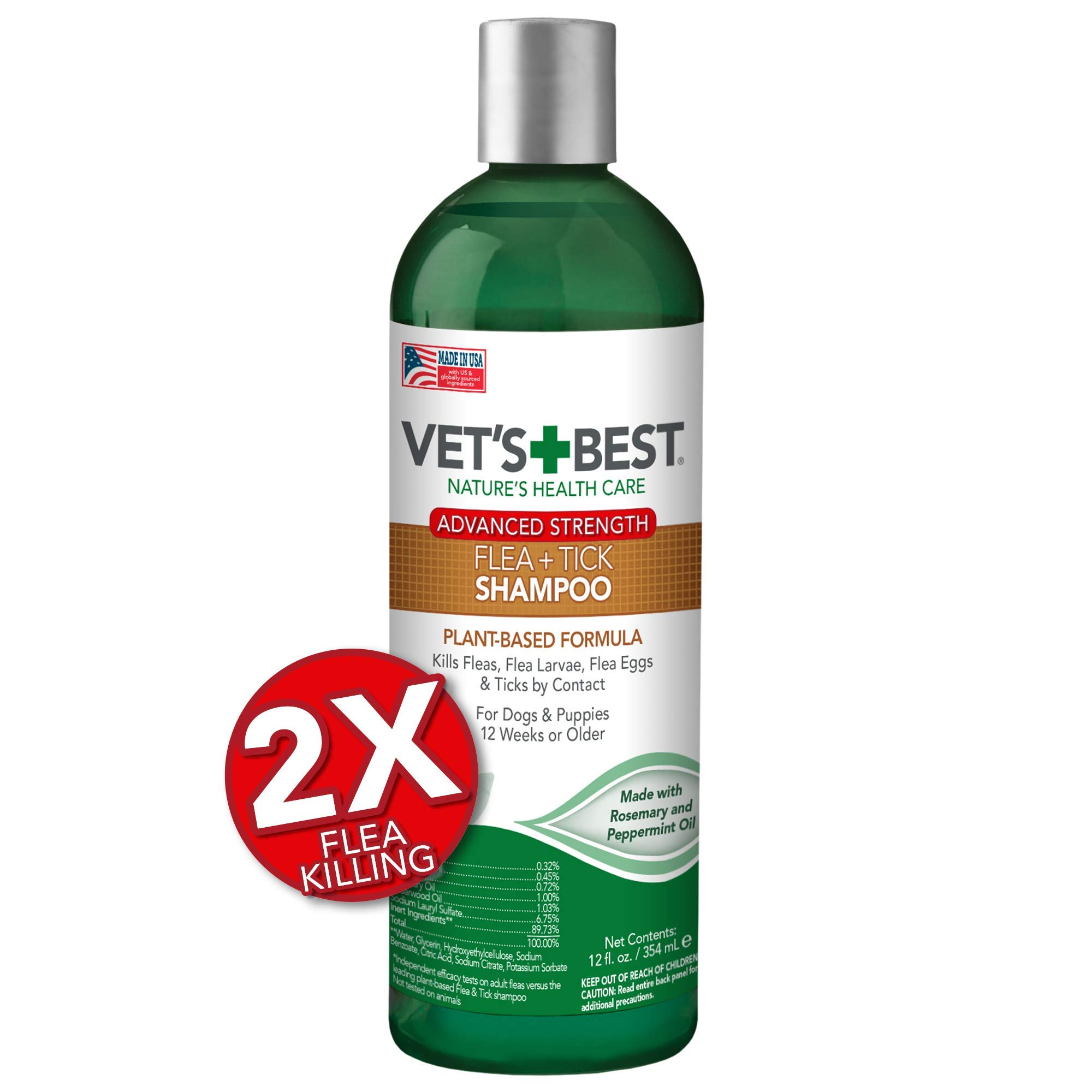 Vet's Best Flea and Tick Advanced Strength Dog Shampoo | Flea Treatment for Dogs | Flea Killer with Certified Natural Oils | 12 Ounces by Vet's Best