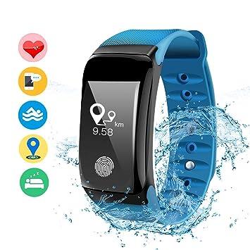 DAMIGRAM Pulsera Actividad, Pulsera Reloj Inteligente con Pulsómetro Impermeable, Bluetooth Deporte Bluetooth Podómetro (Type 1 Blue): Amazon.es: Deportes y ...