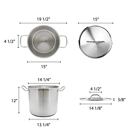 32 Qt Stock Pot W Lid Stainless Steel Commercial Grade