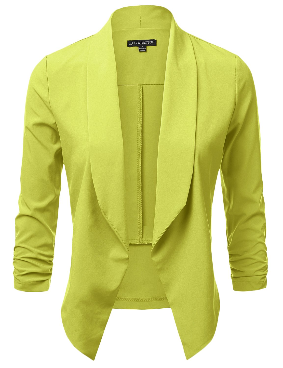 JJ Perfection Women's Lightweight Chiffon Ruched Sleeve Open-Front Blazer Lime S