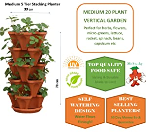 5 Tiered Stacking Vertical Strawberry Planter Pot - Learn How to Grow Organic Strawberries Easy with these Cool indoor outdoor Terracotta Plastic Containers - Great Garden Stackable Planting Pots