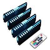 RGB RAM Shell Memory Glowing Heatsink for Computer, LED Cooling Vest Fin Heat Sink with Controller for DDR3 DDR4 (4 Pack, M Series) (Color: Quadra LED RAM coolers)