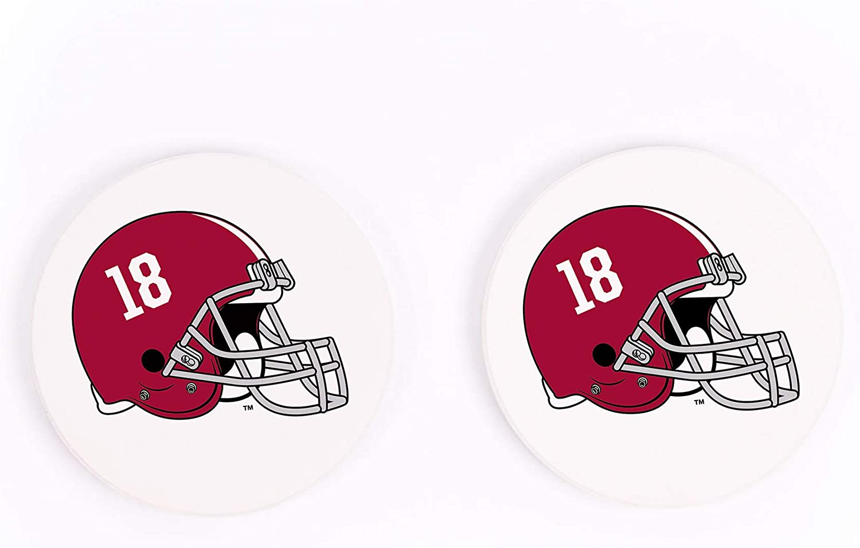 University Of Alabama Crimson Tide Football Helmet 2 75 X 2 75 Absorbent Ceramic Car Coasters Pack Of 2 Coasters