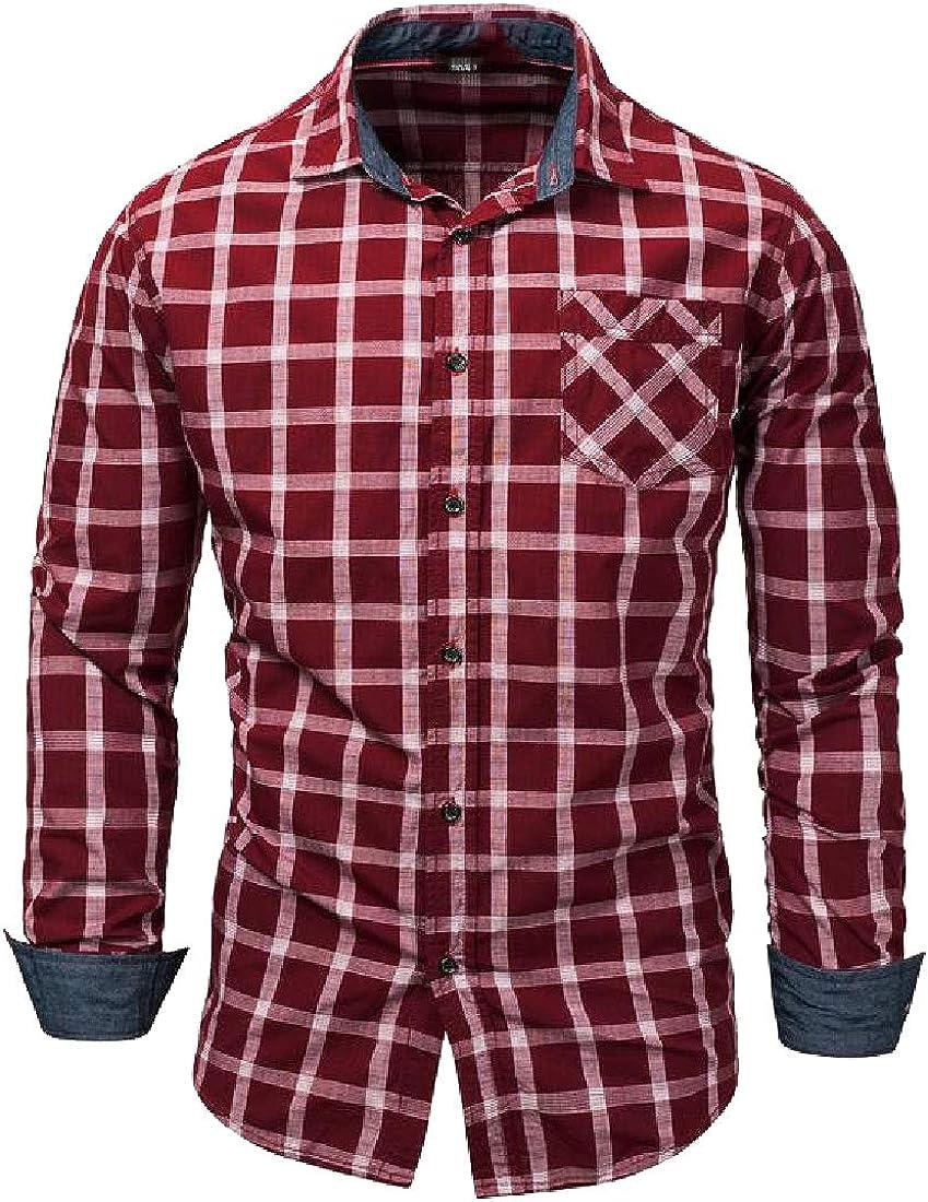 Abetteric Mens Basic Cotton Checkered Buttoned Plus-Size Fashion Dress Shirts