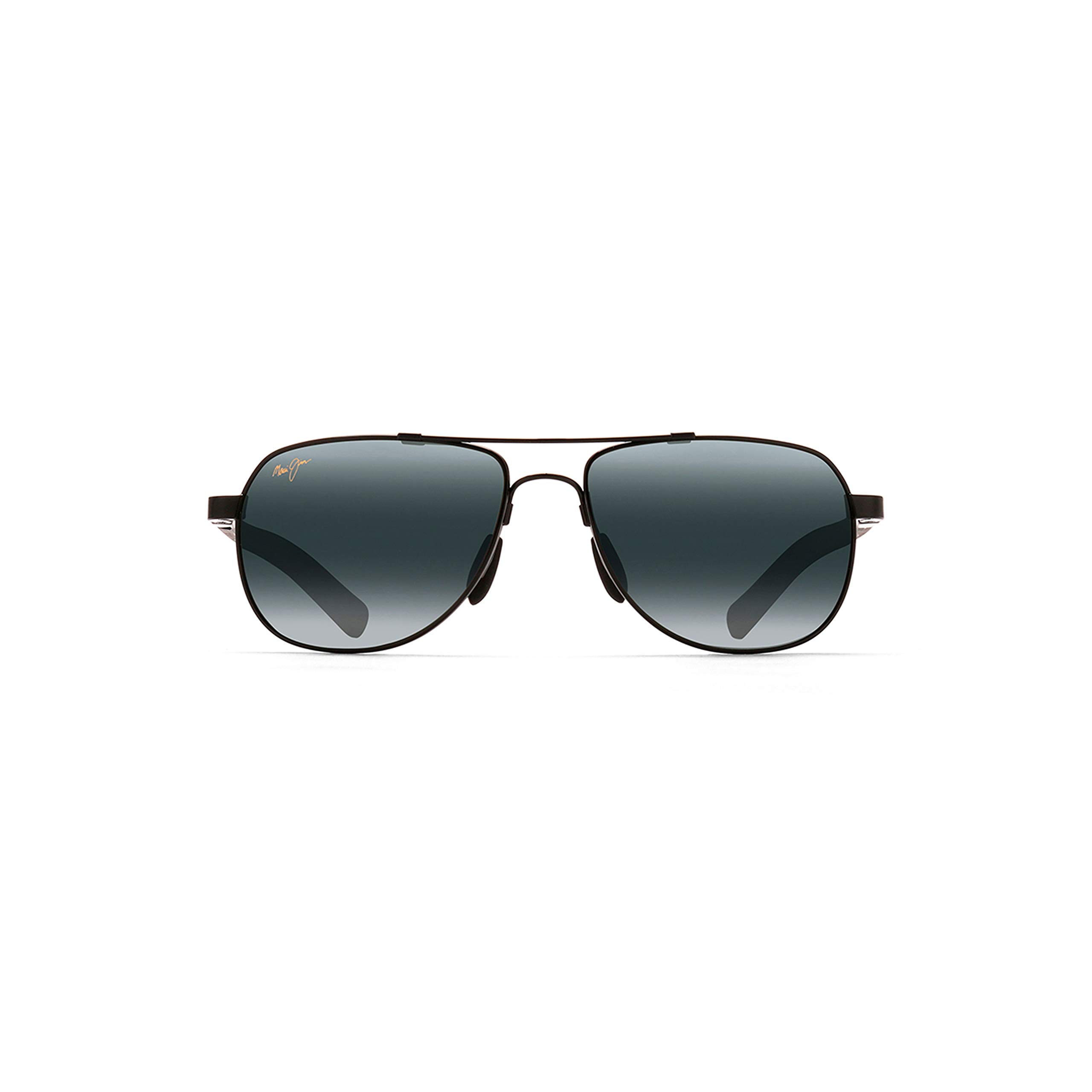 Maui Jim Guardrails 327-02 | Polarized Gloss Black Aviator Frame Sunglasses, Neutral Grey Lenses with Patented PolarizedPlus2 Lens Technology by Maui Jim