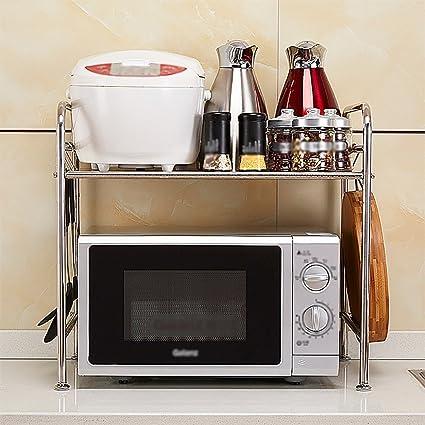 Estantería de Cocina Horno microondas Estante Horno Doble Capa Multi-Funcional Estantes de Piso de