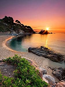 DIY 5D Diamond Painting Kit, Round Full Drill Embroidery Cross Stitch Arts Craft Canvas Supply for Home Wall Decor 11.8x15.75inch (Sunset)