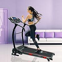 AsVIVA Laufband T17 Cardio Runner Heimtrainer - 12 km/h Geschwindigkeit, elektronischer 2,5 PS HighTech Motor – Fitnesscomputer mit 20 Trainingsprogrammen 110kg Nutzergewicht - kompakt klappbar