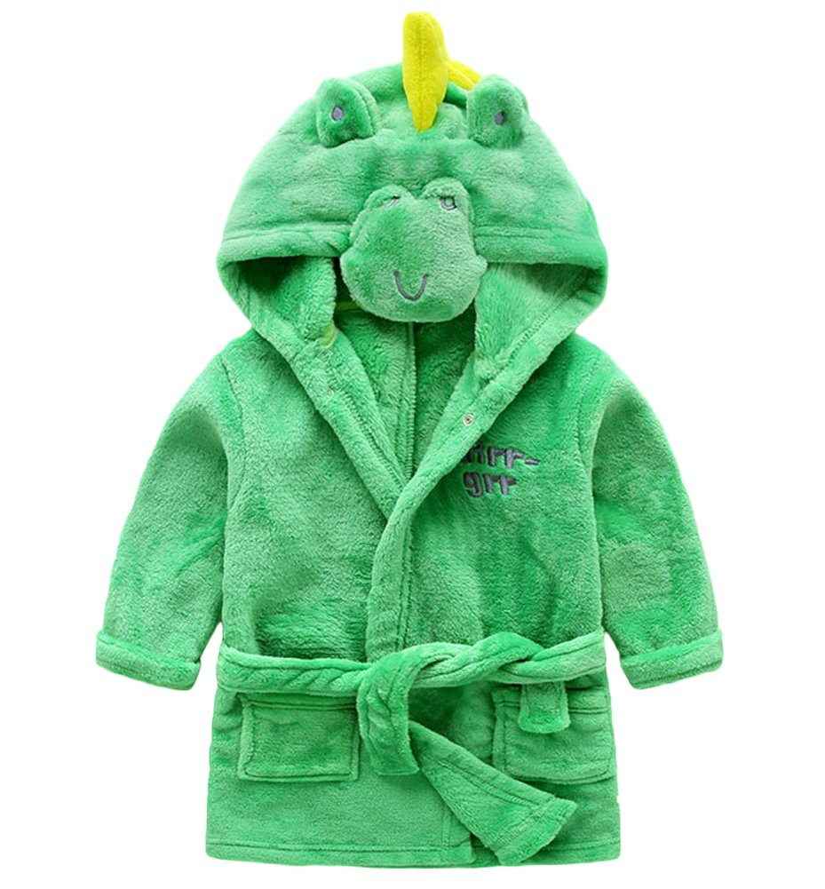 DELEY Unisex Baby Girls Boys Animal Cartoon Supersoft Flannel Warm Hooded Bathrobe Pajamas Sleepwear Nightgown