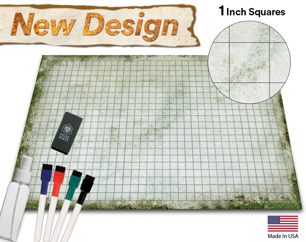 Battle Grid Game Mat - 36x24 Table Top Role Playing Map - DND Role Play - RPG Dungeons and Dragons Maps Tiles - Reusable Miniature Figure Board Games - Tabletop Gaming Mats (Moss)