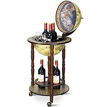 Stupendous Costway Globe Drink Cabinet Bar Wine Beverage Stand Bottle Italian 360Mm Wood Wood Plastic 330Mm Creamy White Home Interior And Landscaping Eliaenasavecom