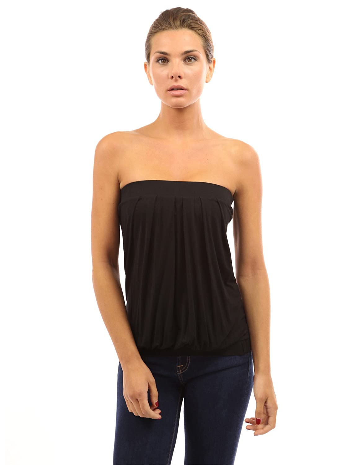 dde14ba4e9 PattyBoutik Women Pleated Tube Top at Amazon Women s Clothing store  Tank  Top And Cami Shirts