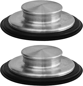 2 PACK - 3 3/8 inch (8.57Cm) - Kitchen Sink Stopper Stainless Steel Garbage Disposal Plug Fits Standard Kitchen Drain size of 3 ½ Inch (3.5 Inch) Diameter