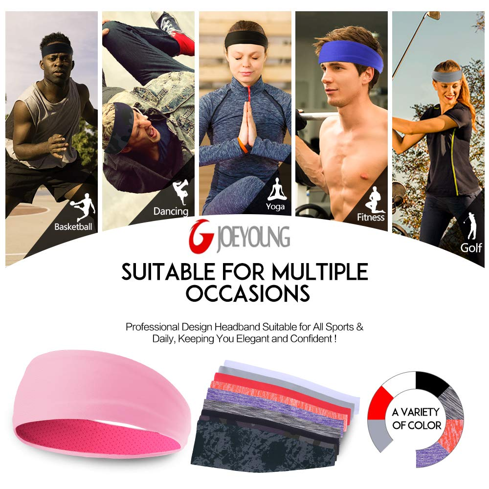 Cycling Crossfit JOEYOUNG Sport Headbands /& Sweatbands for Men and Women 3 Pack Workout Headbands Hairbands for Yoga Running Breathable /& Non-Slip /& Performance Stretch Basketball