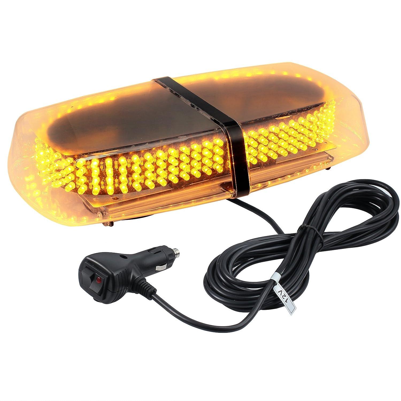 Justech 240LED Amber LED Strobe Warning Light 12V Car Emergenecy Warning Lights Hazard Warning Beacon Lights with Magnetic Base for Van Car Truck Trailer RV Caravan