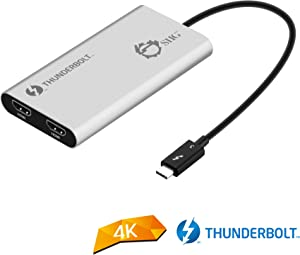 SIIG Thunderbolt 3 to Dual HDMI 2.0 Port Display Adapter at 4K 60Hz - Intel Thunderbolt 3 Certified - Windows/MacBook Pro/Chromebook/XPS/Surface Book - Supports Two 4K 60Hz Monitors Simultaneously