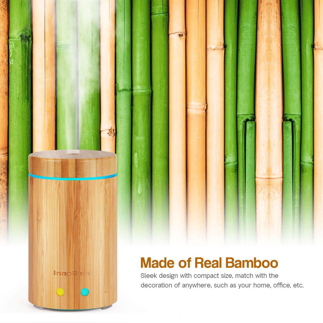 InnoGear Upgraded Real Bamboo Essential Oil Diffuser Ultrasonic Aroma Aromatherapy Diffusers Cool Mist Humidifier with Intermittent Continuous Mist 2 Working Modes Waterless Auto Off 7 Color LED Light by InnoGear (Image #5)