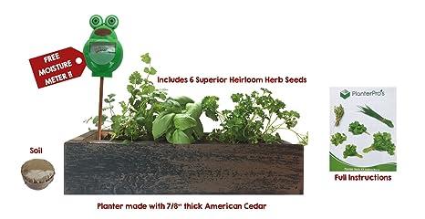 herb garden cedar planter complete herb garden kit indoor garden seeds growing kit - Indoor Garden Kit