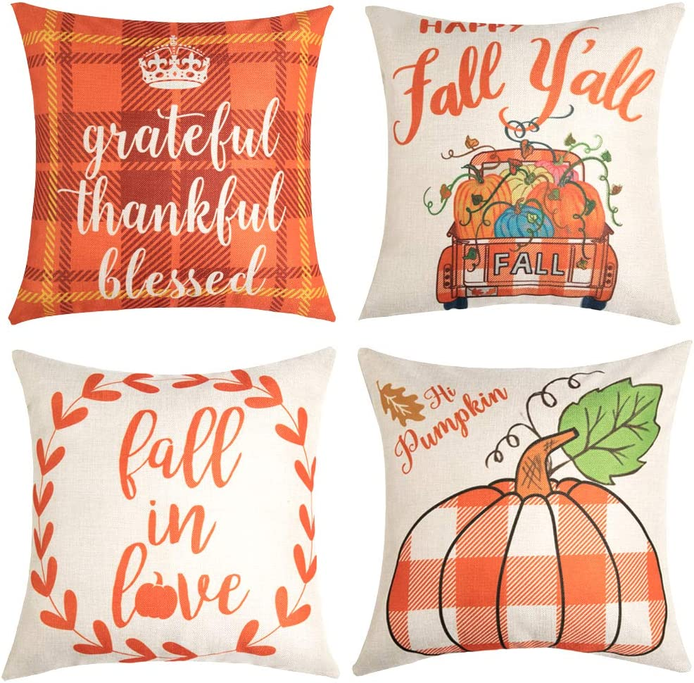Anickal Set of 4 Fall Pillow Covers Grateful Thankful Blessed Orange and White Buffalo Check Plaid Farmhouse Decorative Throw Pillow Covers 18x18 Inch for Sofa Couch Decor