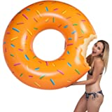 U.S. Pool Supply Giant 4 Foot Inflatable Donut Pool Ring Tube Float, Orange Frosted with Sprinkles - Fun Kids Swim Party Toy - Summer Lounge Raft