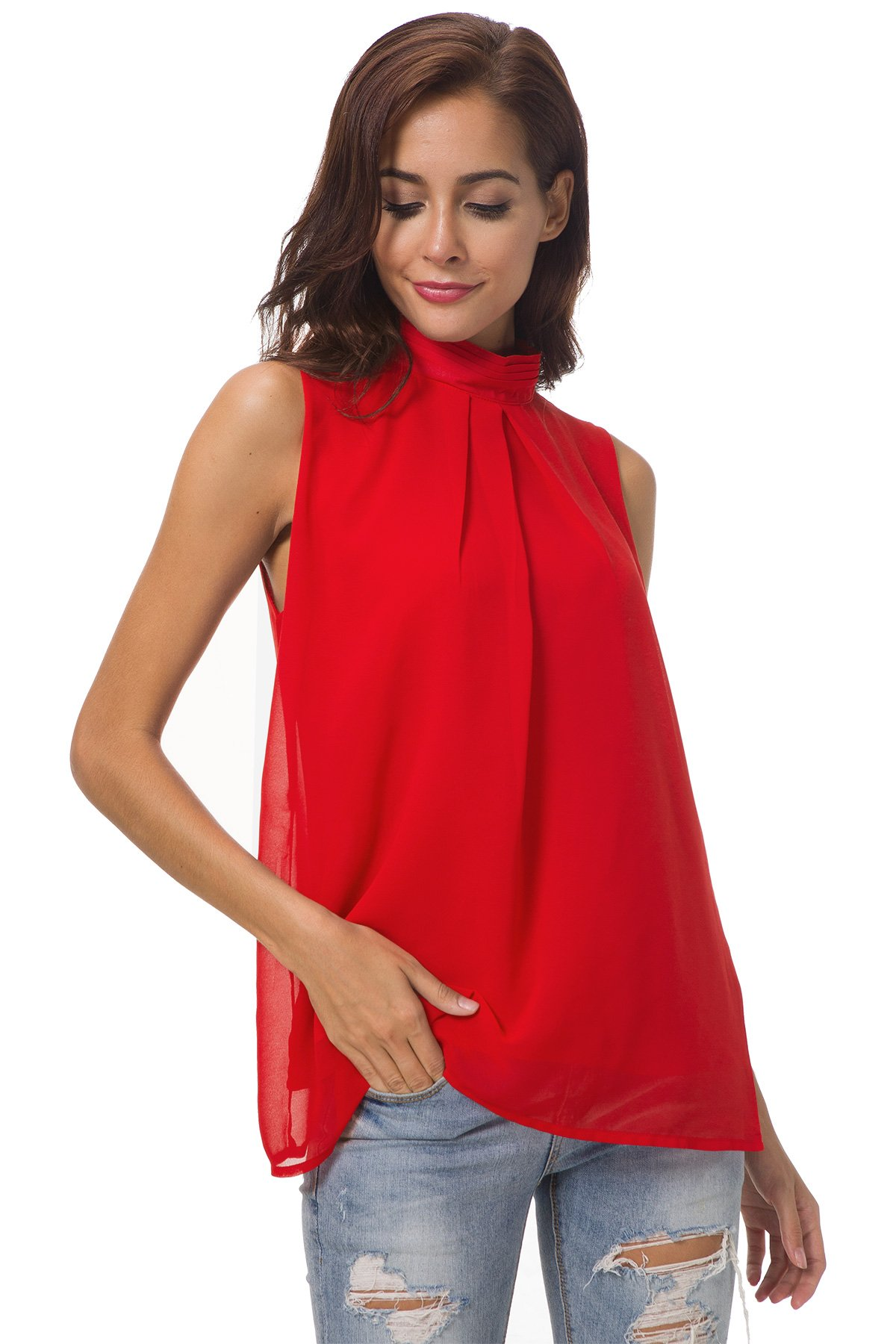 SRYSHKR Summer Chiffon Sleeveless Shirt Top Blouse Tank Camis Women Casual Double Layer Pleated Female (XL, Red)