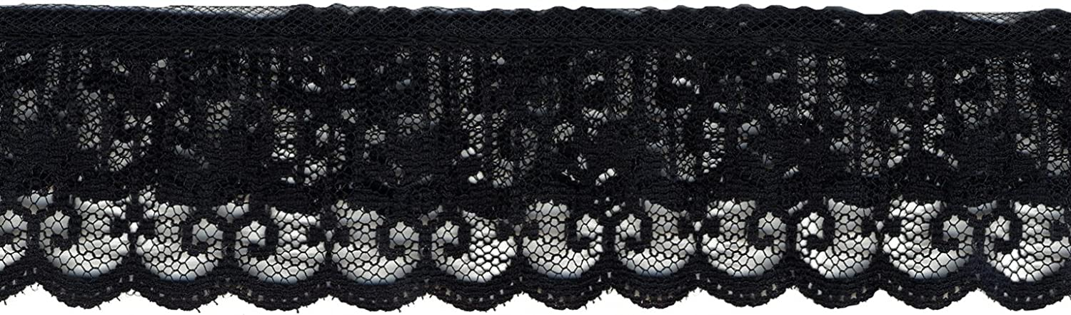 Wrights 186 8867-031 2-Inch Wide Tier Line Lace, 12-Yard, Black