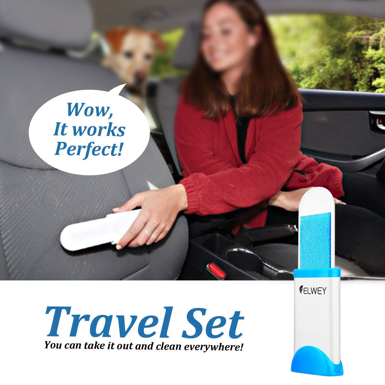 ELWEY Pet Fur & Lint Remover, Easy Cleaning Dog & Cat Hair From Clothes and Furniture with [Self-Clean Base] [Travel Set]