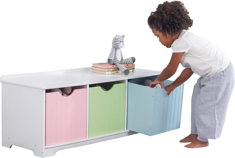 KidKraft Nantucket Banco de Madera con 3 cajones/contenedores/cestas de Almacenamiento, Muebles de Dormitorio para niños, Multicolor (Pastel)