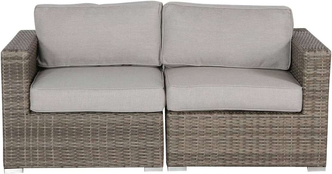 Outdoor Furniture Patio Sofa Couch Garden, Backyard, Porch or Pool All-Weather Wicker with Thick Cushions by Living Source International CM-4321 2 Pieces Love seat, Verona Grey