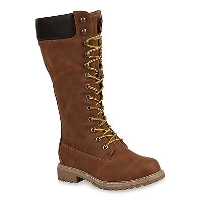 Damen Worker Boots Warm Gefütterte Stiefel Outdoor Schuhe 151276 Braun 37 Flandell hdmXF6X