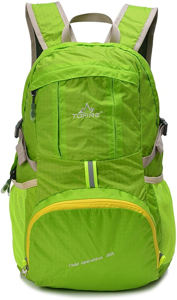 TOFINE Large Travel Light Weight Foldable Backpack Camping Hiking Gear 35L Green