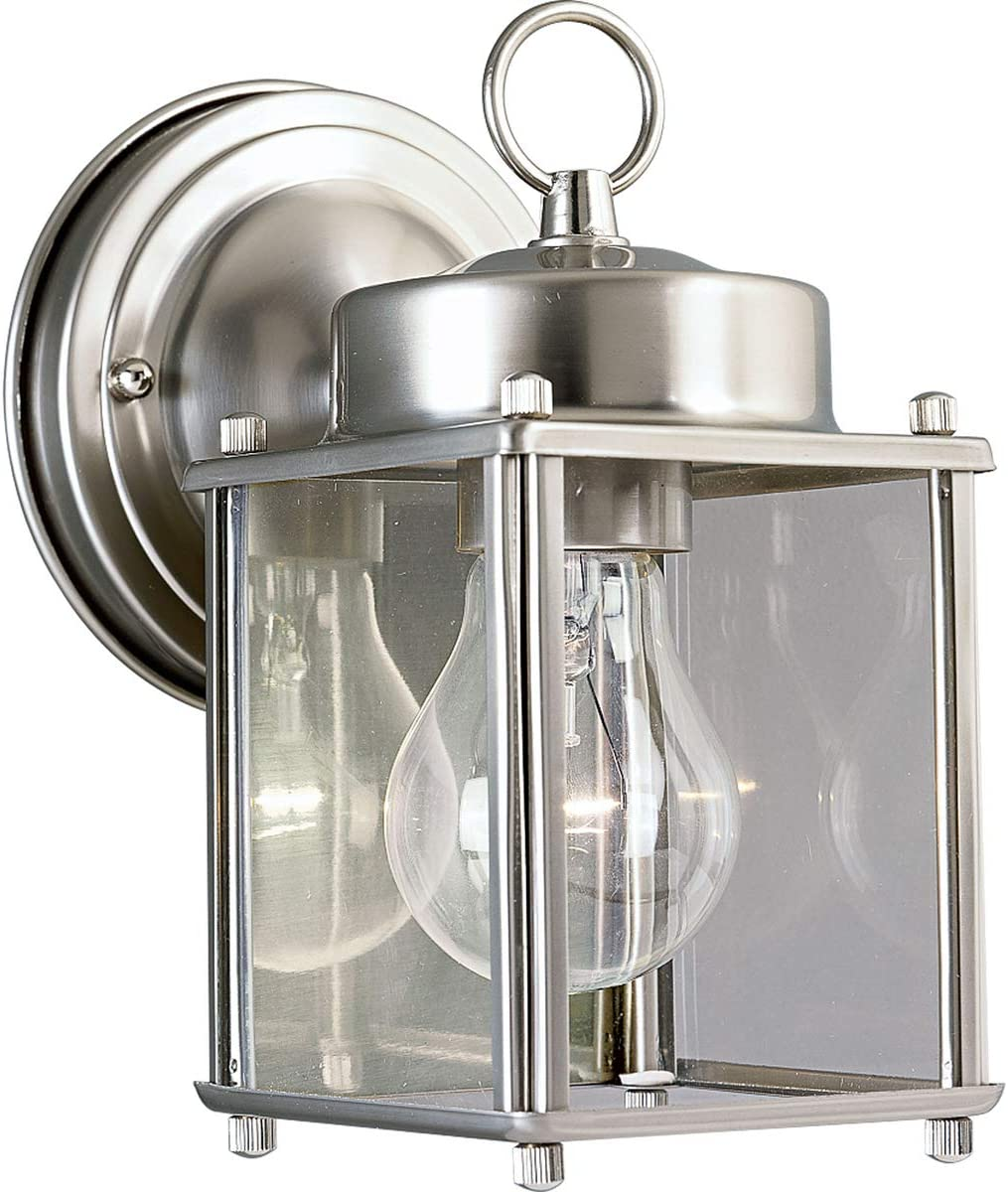 Progress Lighting P5607 09 Wall Lantern with Clear Glass Brushed Nickel