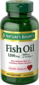 Nature's Bounty Fish Oil 1200 mg Odorless, 200 Coated Soft gels (Packaging May Vary)