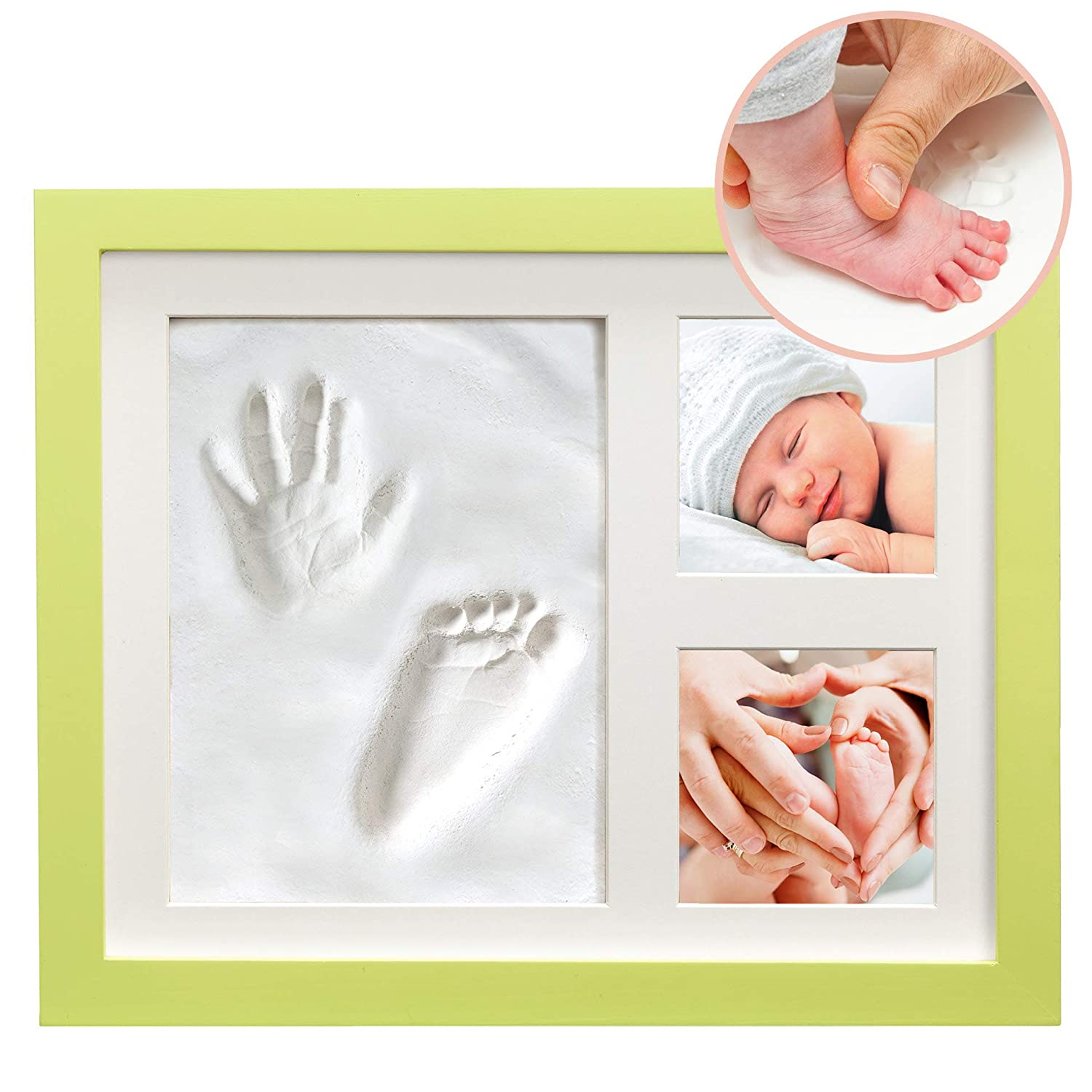 "White Clay Hand/Footprint Photo Frame for Babies, Kids, and Pets – Includes 9"" x 11"" Colored MDF Wood Photo Frame, Roller, Mounting Hardware, and Instructions -"