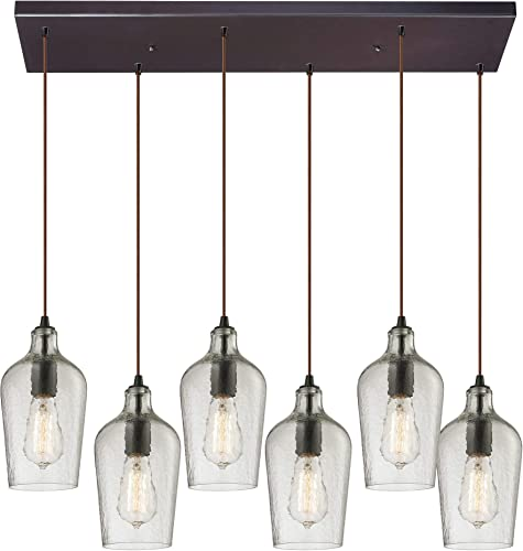 ELK Lighting 10331 6RC-CLR Hammered Glass Collection 6 Light Chandelier