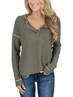 b33936a1 Minclouse Women's Long Sleeve Button Down Tunic Henley Shirts Casual Blouse  Tops
