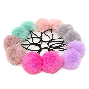 12pcs Fur Ball Elastic Girl Ponytail Holders Plush Ball Hair Ring Hair Rope clip