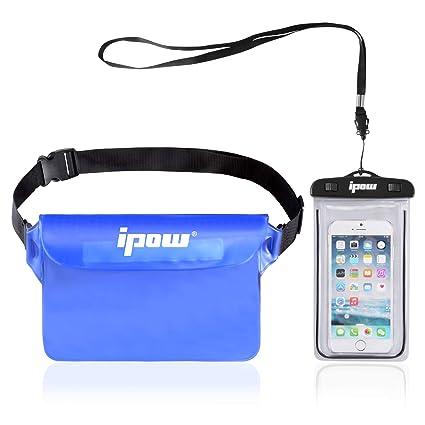 IPOW [2 PCS Bolsa riñonera Impermeable iPhone, teléfono móvil, cámara, iPad, Dinero en Efectivo, Documentos, protección contra el Agua