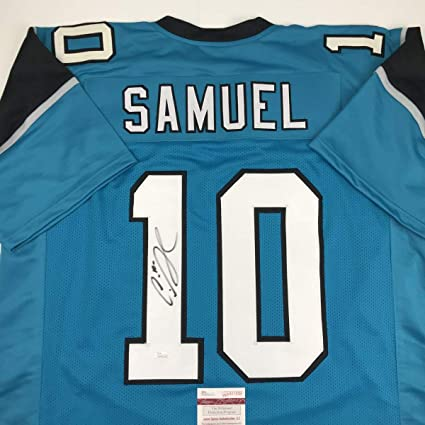 9fd41c507 Image Unavailable. Image not available for. Color  Autographed Signed  Curtis Samuel Carolina Blue Football Jersey JSA COA