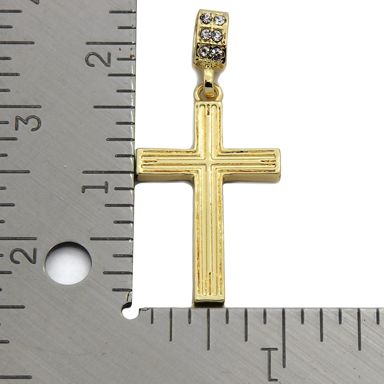Gold Tone Line Cross Pendant Hip-hop 3mm 30 Cuban Chain Necklace