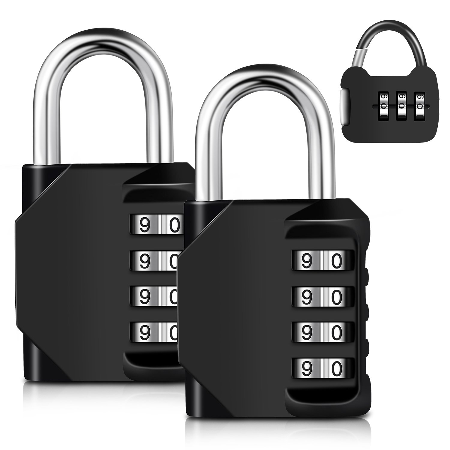 3-Pack 4-Digit Weatherproof Combination Padlocks, 2-Pack for School, Employee, Outdoor, Gym & Sports Locker, Cabinet & Storage with FREE Mini 1-pack, Resettable By Adoric