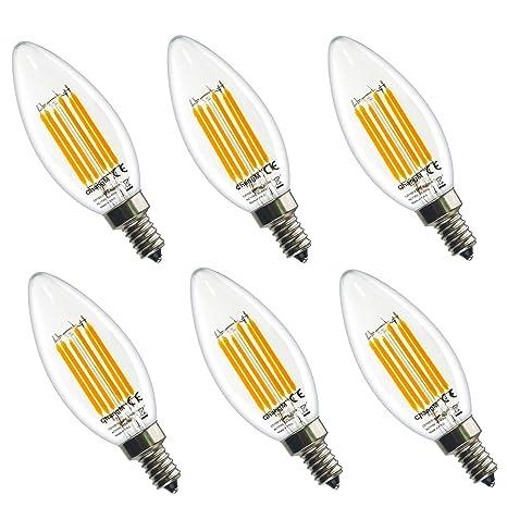 E14 Bombilla LED Bombilla Base 220V 6W 2700K LED Bombilla Edison Blanco cálido, 60W Incandescente