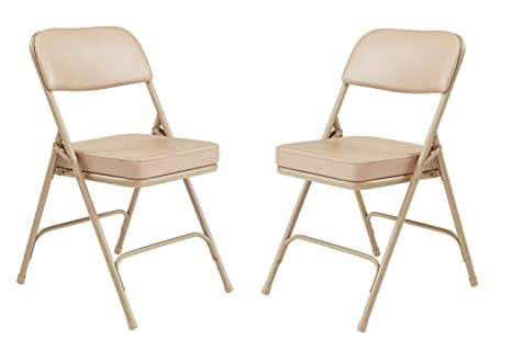 Groovy 2 Pack Nps 3200 Series Premium 2 Vinyl Upholstered Double Hinge Folding Chair Beige Pabps2019 Chair Design Images Pabps2019Com