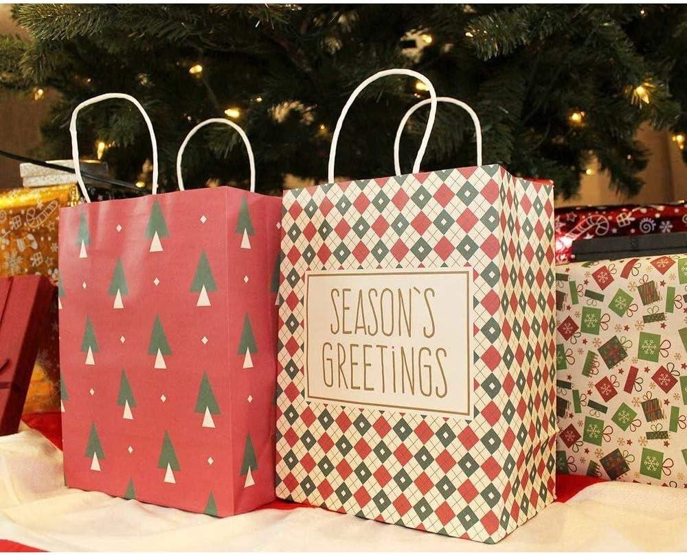Bolsas de Regalo Navidad 16Pcs Bolsas de Papel Kraft con Asa para Personalizar y Envolver Regalos