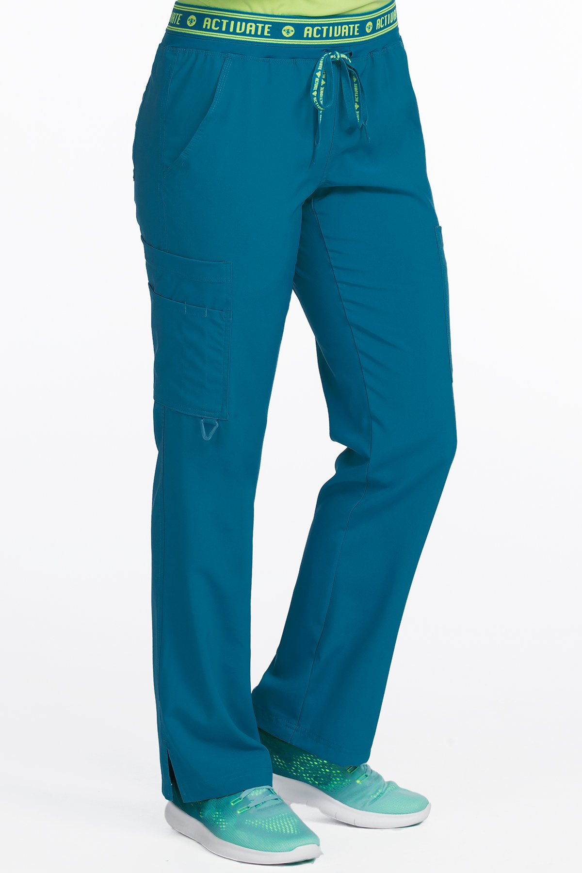Med Couture Women's 'Activate' Flow Yoga Cargo Scrub Pant, Caribbean, X-Small