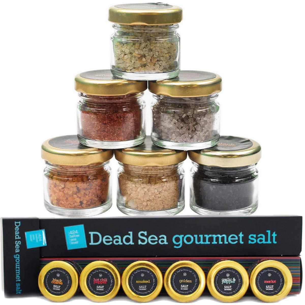 424's Natural Organic Dead Sea Salt - 6 Pack Gift set - Black Coarse Salt, Hot Chili Pepper Salt, Garlic and Pepper, Golden, Smoked and Diamond Salt – No Additives – Kosher Salt - Vegan - 6X0.88 oz.